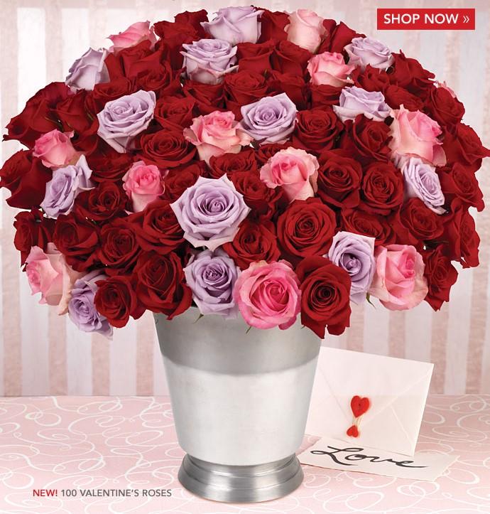 100 Valentine Roses & Wine Chiller