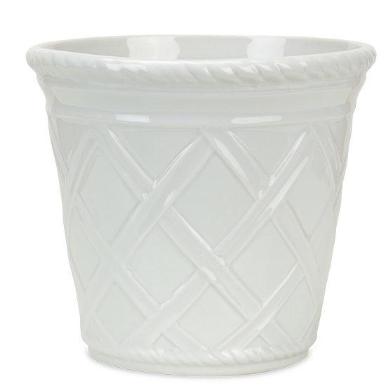 Square White Trellis Ceramic Cachepot