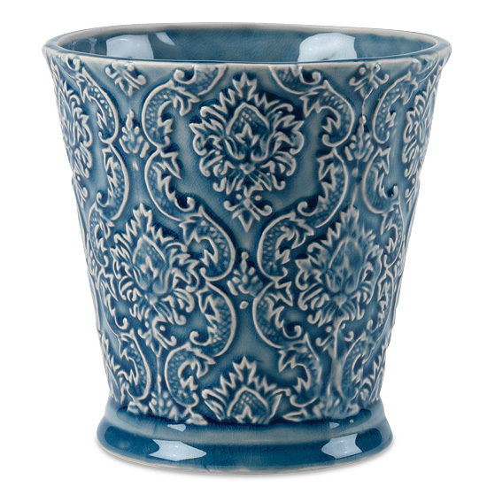 Blue Glazed Damask Ceramic Cachepot