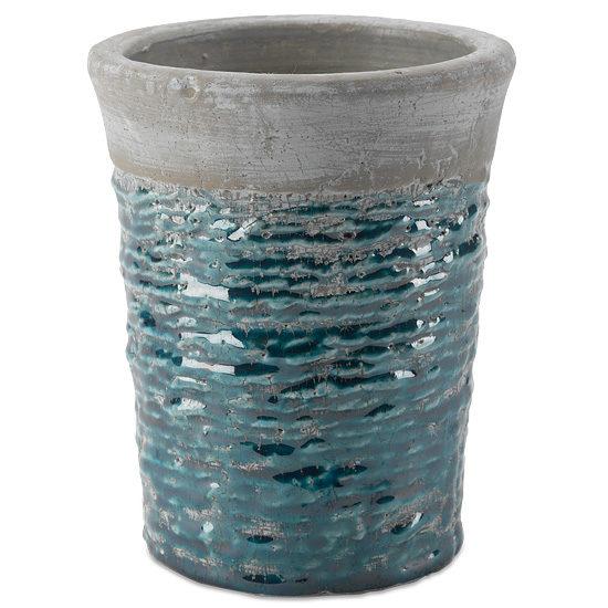 Blue Textured Ceramic Vase