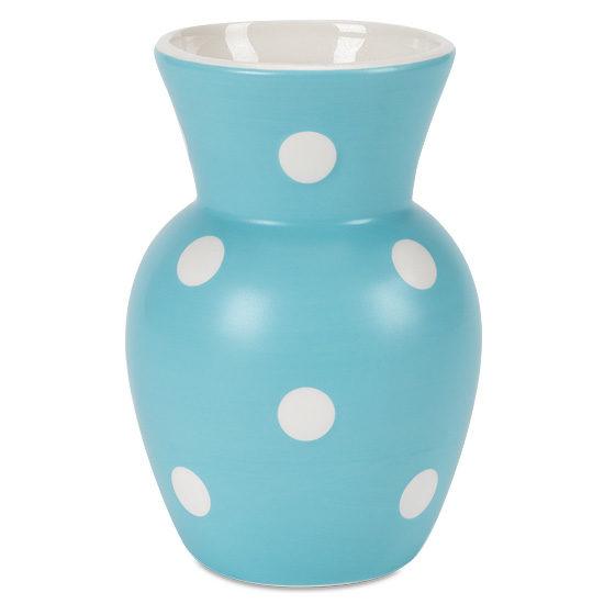 Aqua Polka Dot Ceramic Vase