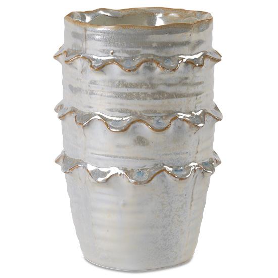 Fancy Ruffled Ceramic Vase