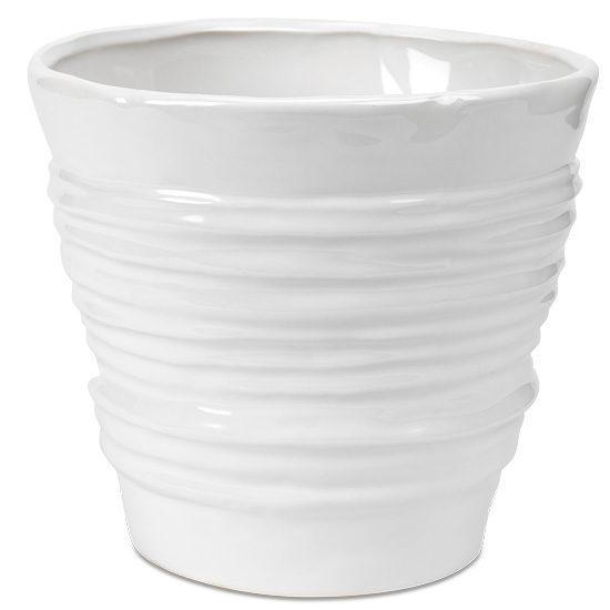 White Ridges Ceramic Cachepot