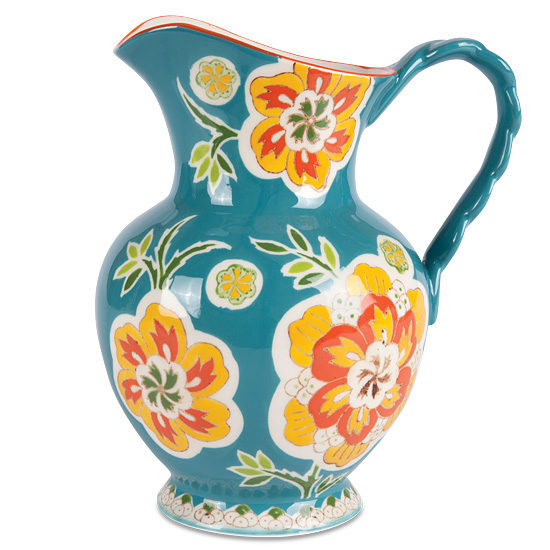Teal Floral Motif Ceramic Pitcher