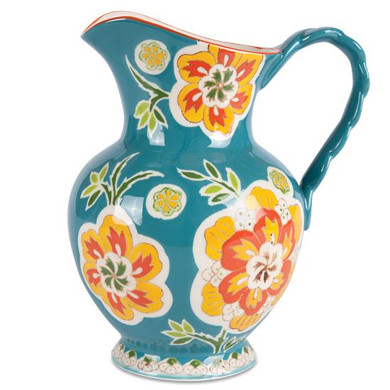 Teal Floral Motif Ceramic Pitcher