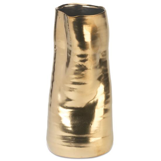 Metallic Gold-Tone Ceramic Vase
