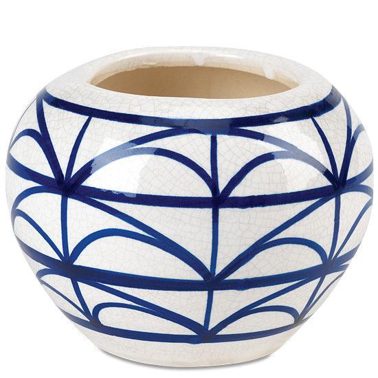 Blueberry Blue & Vanilla Cream Ceramic Vase