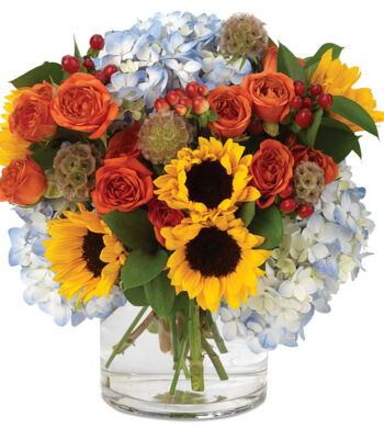 Fresh Harvest Bouquet in Glass Vase