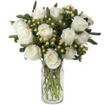 Timeless White Roses with signature glass vase