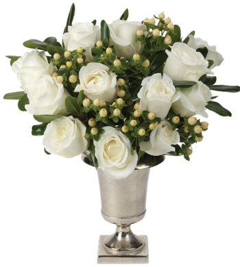 Timeless White Roses with vase