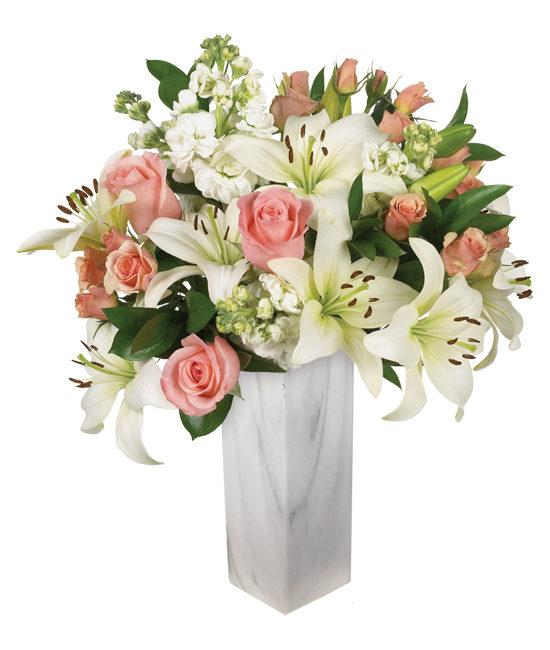 Peekaboo roses, pale pink spray roses