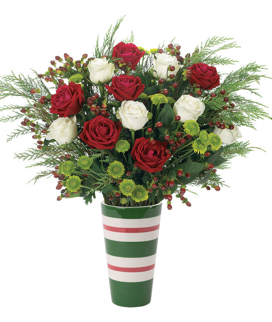 Christmas Bouquet - Roses, button mums, and hypericum berries