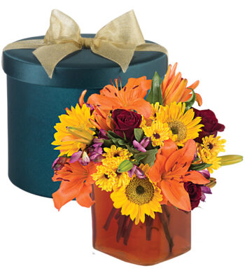 Fall Jewel Hatbox Bouquet