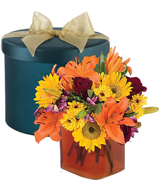 Fall Jewel Hatbox Bouquet