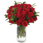Red Long Stemmed Roses with signature glass vase