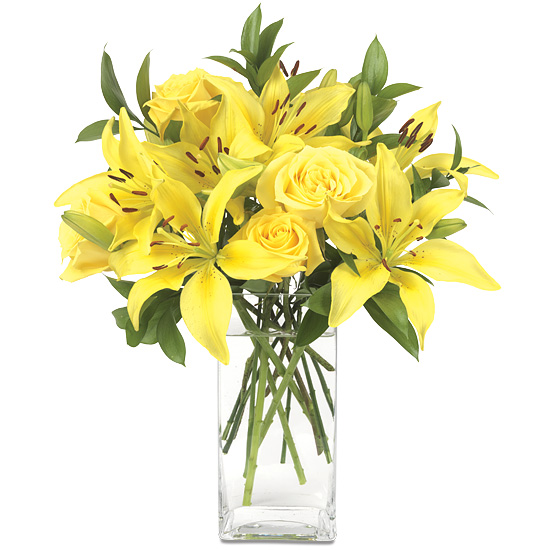 Sun Shine Bouquet - Asiatic lilies and Skyline roses