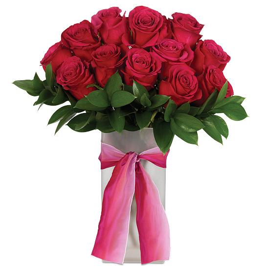 Hot Princess Rose Bouquet with vase