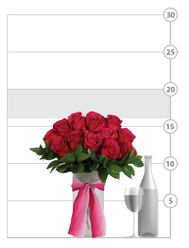 Hot Princess Rose Bouquet shown to scale