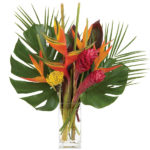 Tropical Palm Bouquet with signature glass vase