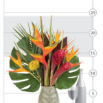 Tropical Palm Bouquet shown to scale