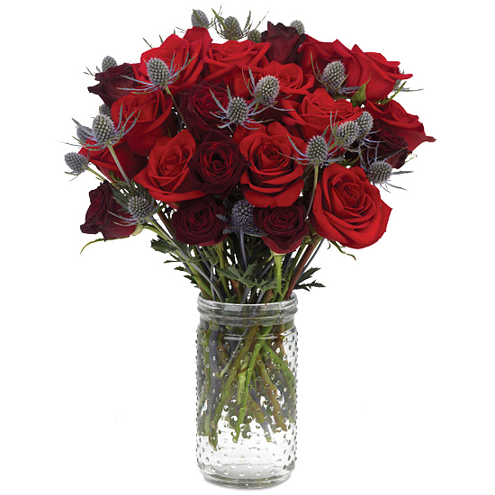 Red Roses Thistle Bouquet A Symbol Of Love And Nobility