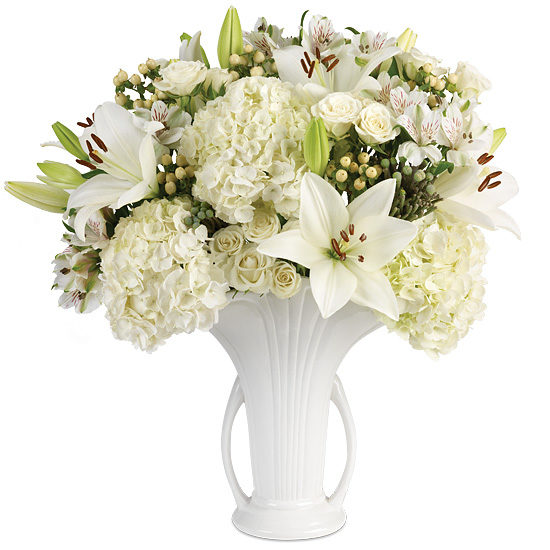 Linen White Bouquet with vase