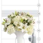 Linen White Bouquet shown to scale