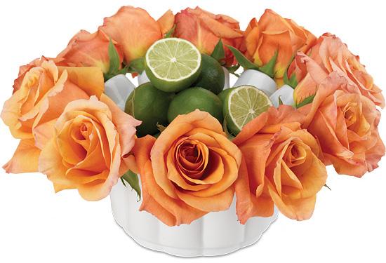 Orange Rose Bowl Centerpiece