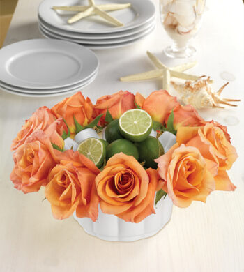 Orange Rose Bowl Centerpiece