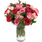Pink Goddess Bouquet with signature glass vase