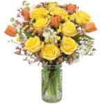 Sunny Rose & Tulip Bouquet with signature glass vase