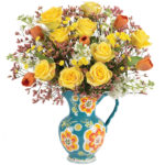 Sunny Rose & Tulip Bouquet with pitcher