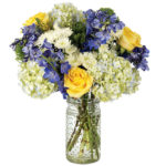 Blueberries & Sweet Cream Bouquet with signature glass vase