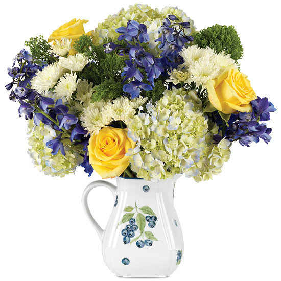 Blueberries & Sweet Cream Bouquet with pitcher