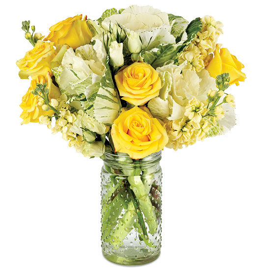Zest for Life Bouquet with signature glass vase