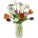 Spring Nouveau Bouquet with signature glass vase