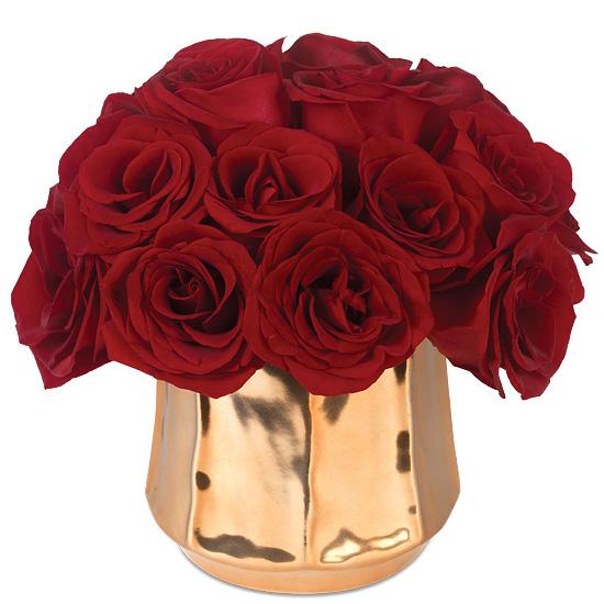Poetic Roses Baccara Blooms In Glazed Gold Vase