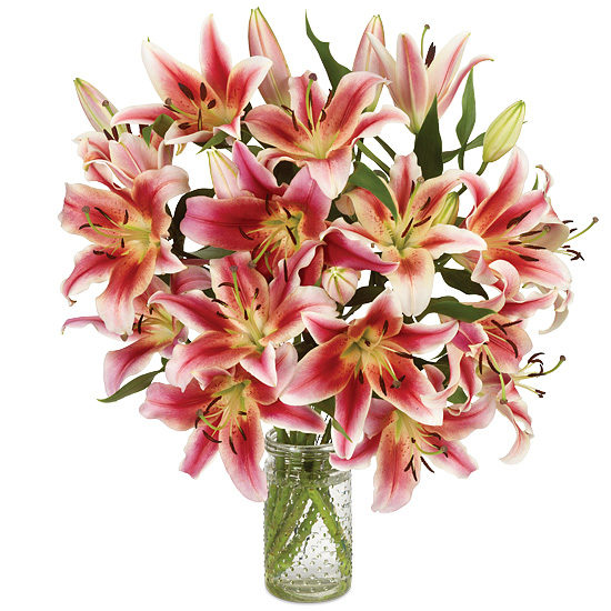 Loving You Lilies with signature glass vase