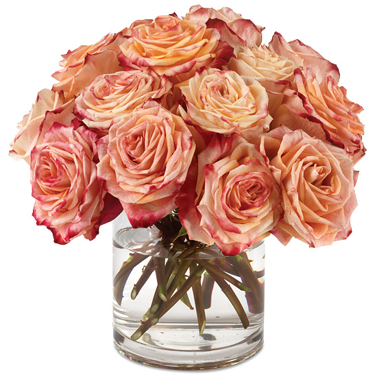 Fragrant Flower Cup Roses with signature glass vase