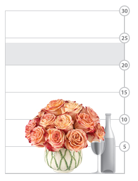 Fragrant Flower Cup Roses shown scale