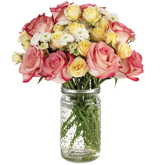 Springtime Garden Bouquet with signature glass vase