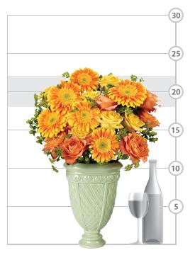 Citrus Blossom Bouquet shown to scale