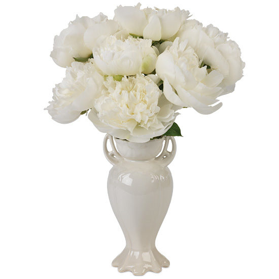 White Peony Bouquet with vase