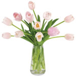 Petal Pink Tulips with signature glass vase
