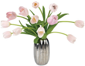 Petal Pink Tulips with vase
