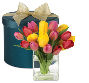 Tulips facts history and meanings of tulip flowers springtime tulips hatbox bouquet mightylinksfo