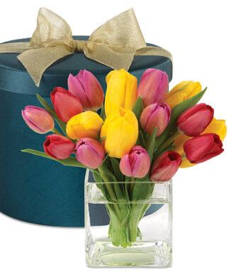 Springtime Tulips Hatbox Bouquet