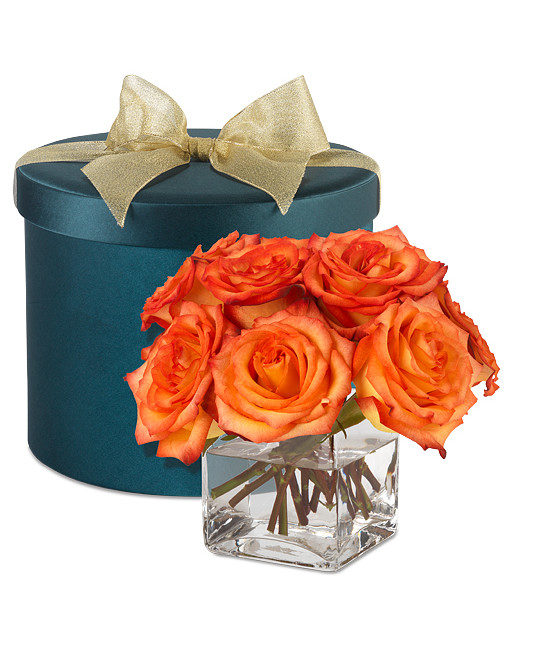 Grand Fete Birthday Hatbox Bouquet with High & Magic Roses